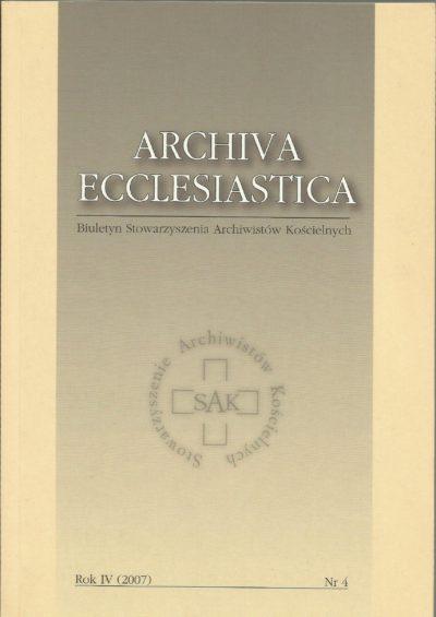 Archiva Ecclesiastica Rok IV (2007)
