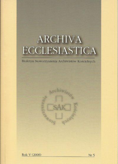 Archiva Ecclesiastica Rok V (2008)