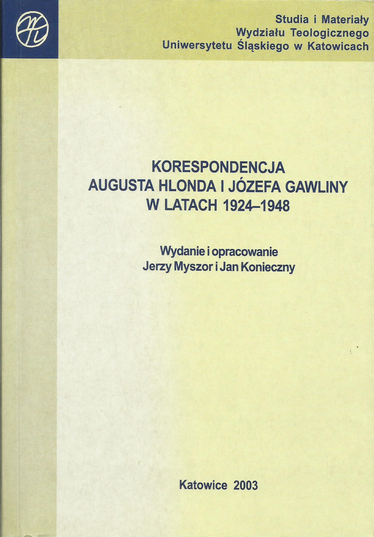 Korespondencja Augusta Hlonda i Józefa Gawliny w latach 1924-1948