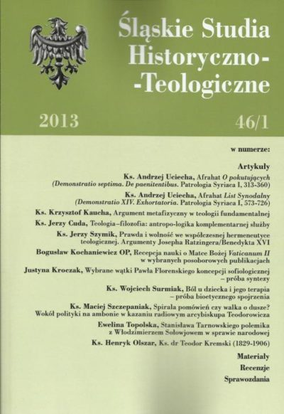 Śląskie Studia Historyczno - Teologiczne 46/1