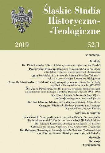 Śląskie Studia Historyczno-Teologiczne 52/1