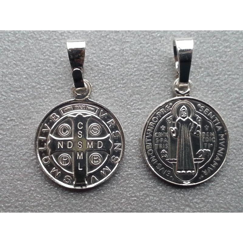 Srebrny medalik św. Benedykta - mały