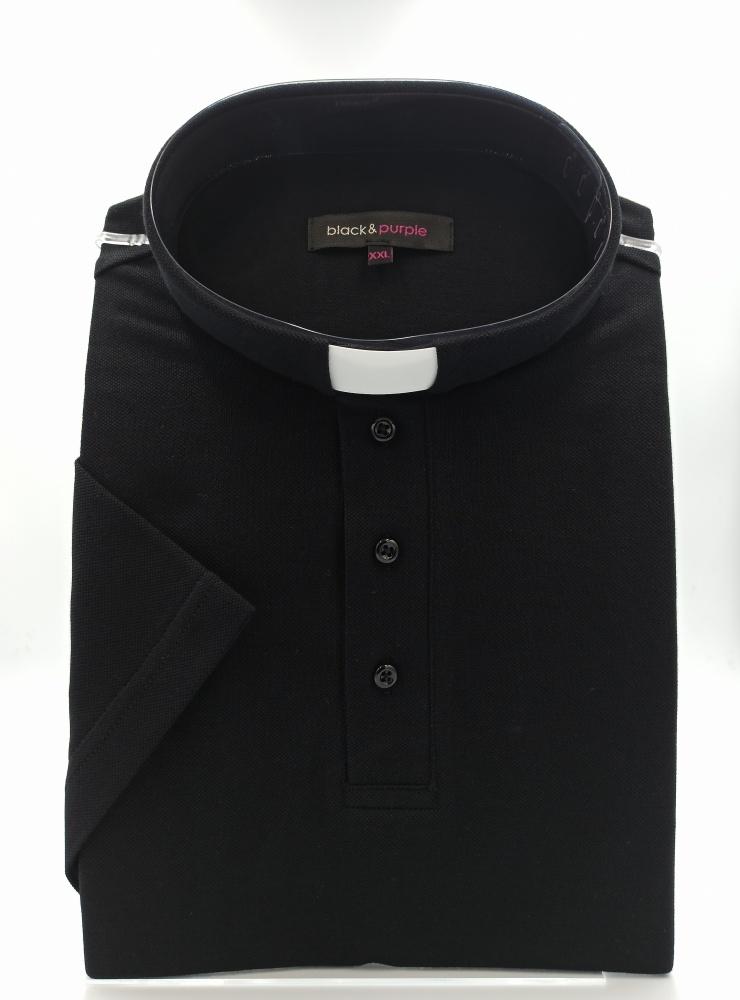 Koszulka polo pod koloratkę (czarna)
