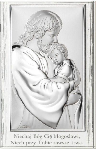 Obrazek srebrny Jezus z dzieckiem