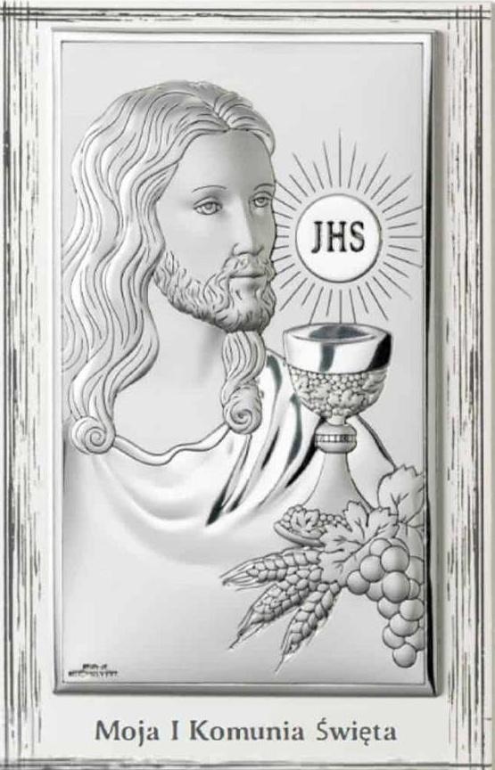 Obrazek srebrny Jezus Pamiątka I Komunii