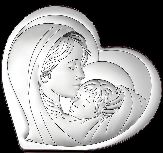 Obrazek srebrny Matka Boża