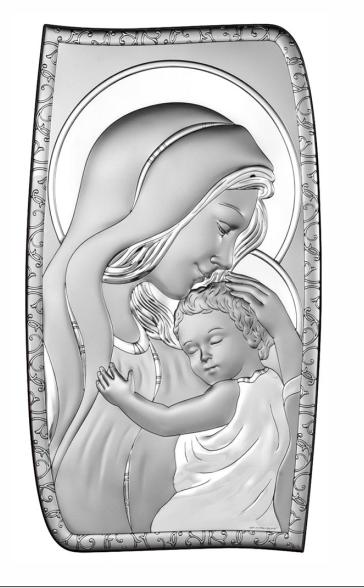 Obrazek srebrny-Madonna zdobiona 6,9 x 12 cm