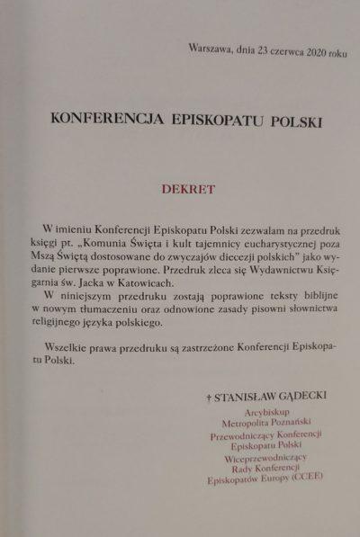 Komunia Święta i kult tajemnicy eucharystycznej poza Mszą Świętą dostosowane do zwyczajów diecezji polskich