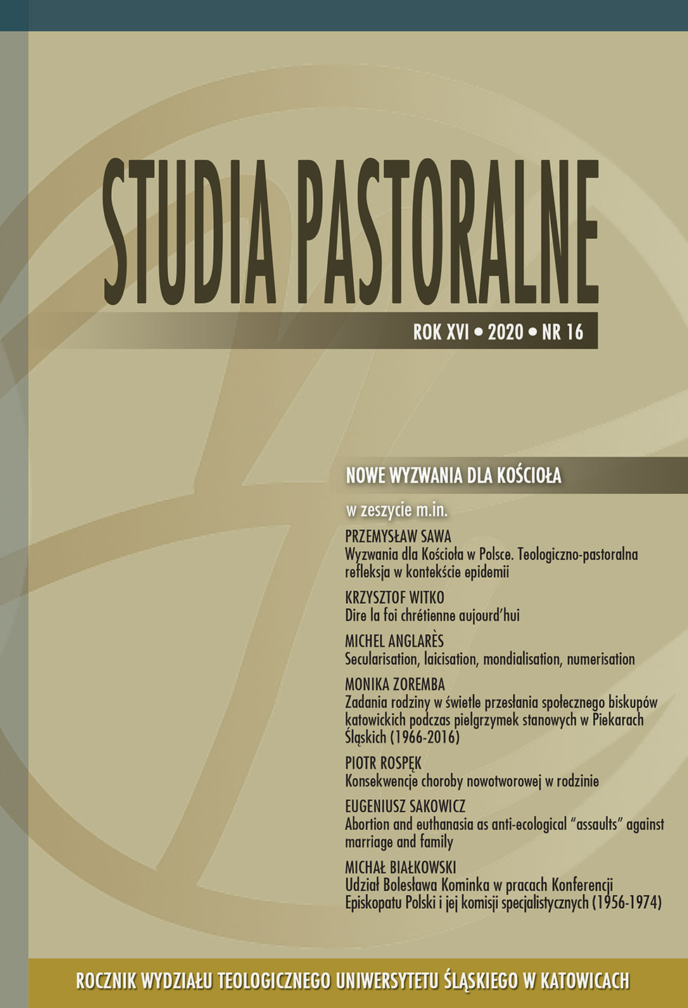 Studia Pastoralne Rok XVI • 2020 • nr 16