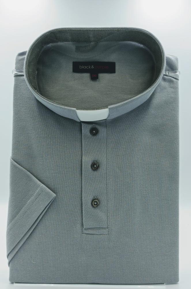 Koszulka polo pod koloratkę (szara)