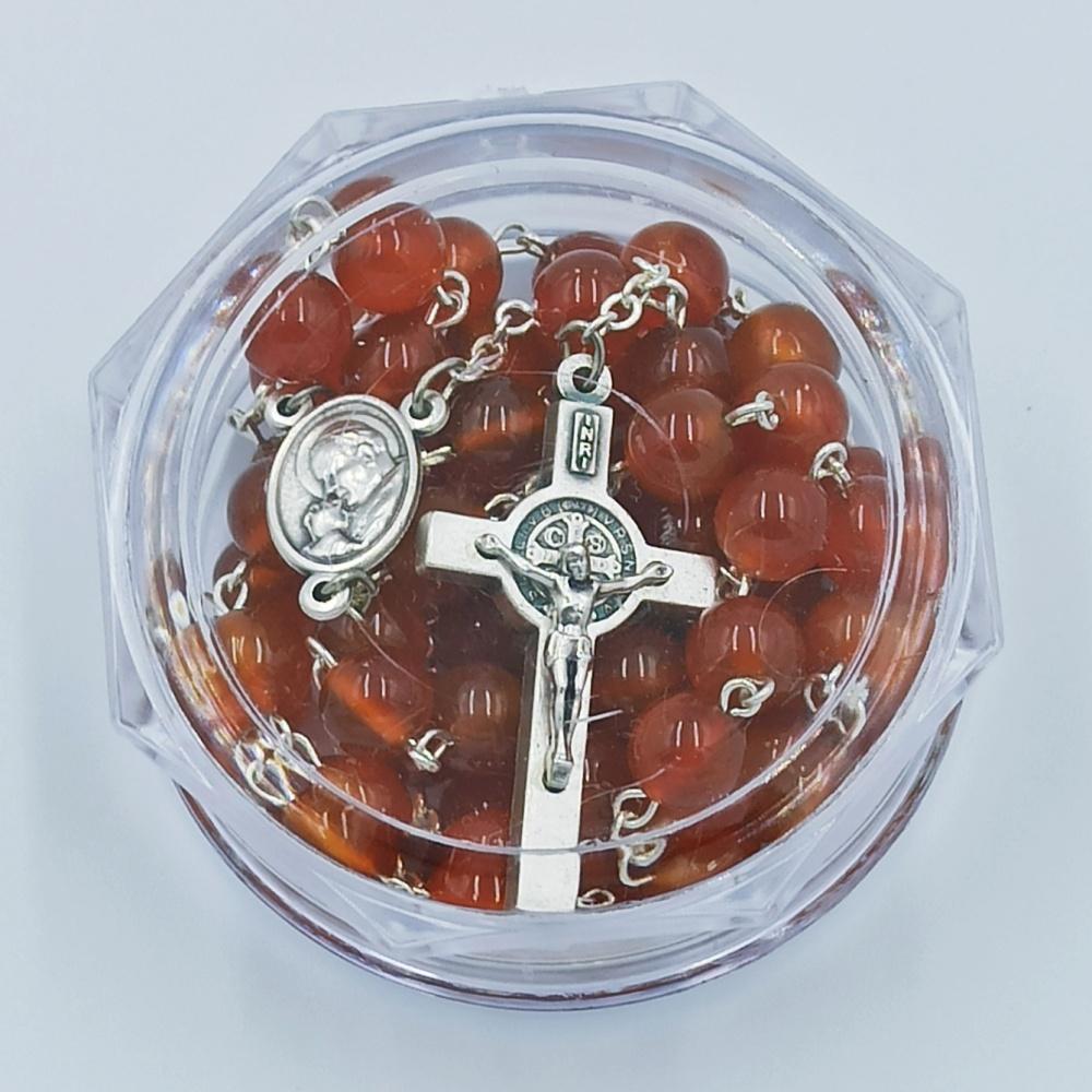 Rózaniec z kamieni półszlachetnych (agat czerwony)