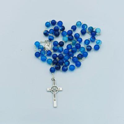 Rózaniec z kamieni półszlachetnych (agat niebieski)