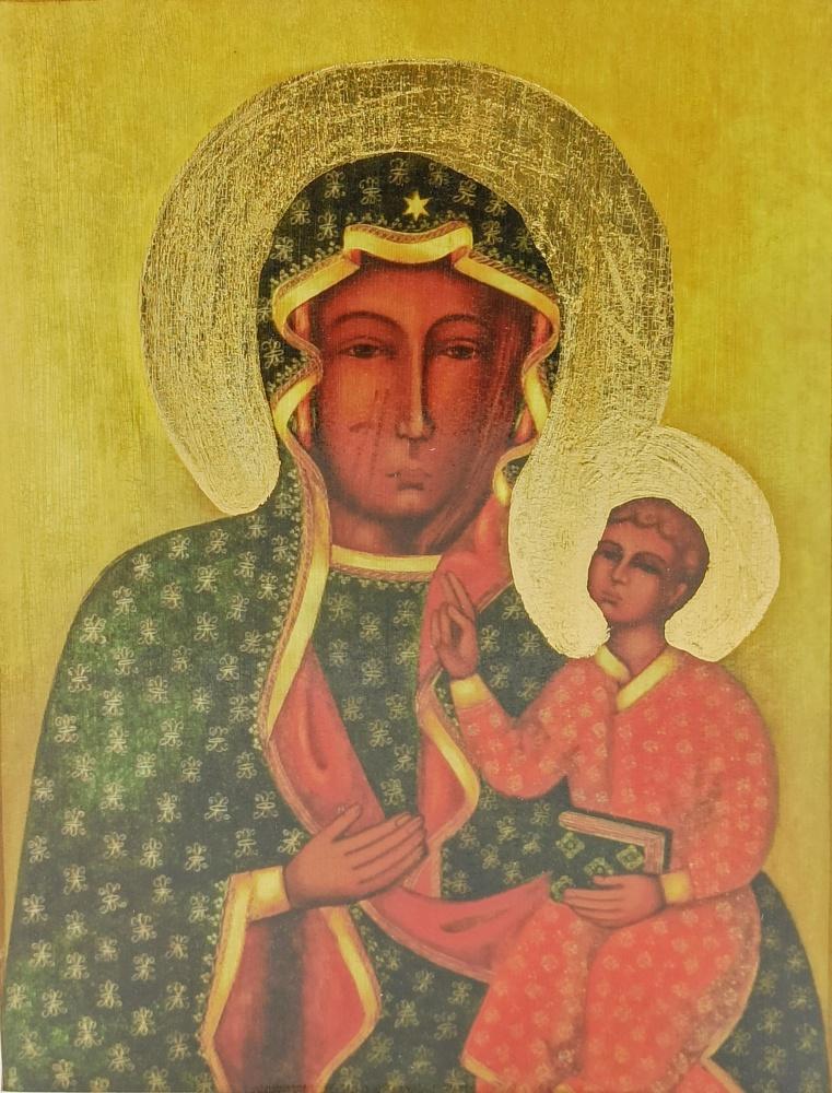 Ikona na drewnie - Matka Boża Częstochowska