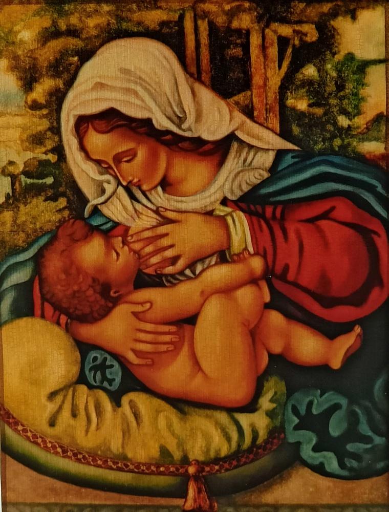 Ikona na drewnie - Matka Boża Karmiąca