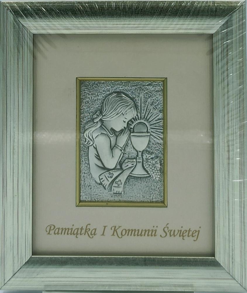 Obrazek srebrny Pamiątka I Komunii