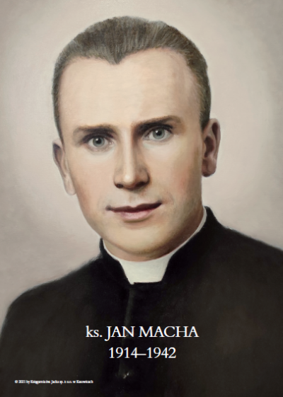 Plakat z wizerunkiem ks. Jana Machy